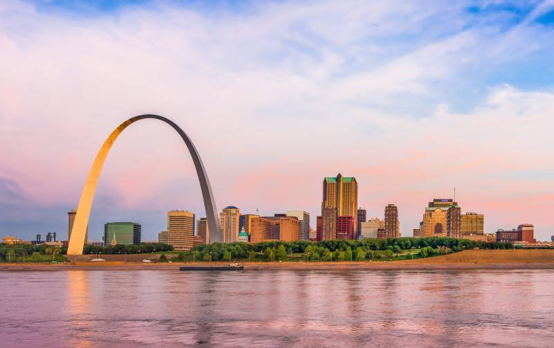 St. Louis skyline panorama with arch