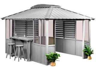 10x14 Gray Louver with bar 1 side open