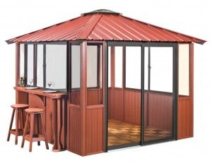 Red Enclosed Gazebo with Bar
