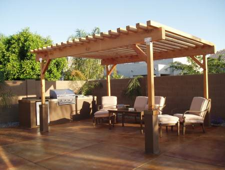 beautiful outdoor room with ramada and kitchen