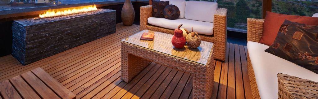 Beautiful modern terrace lounge with pergola at sunset