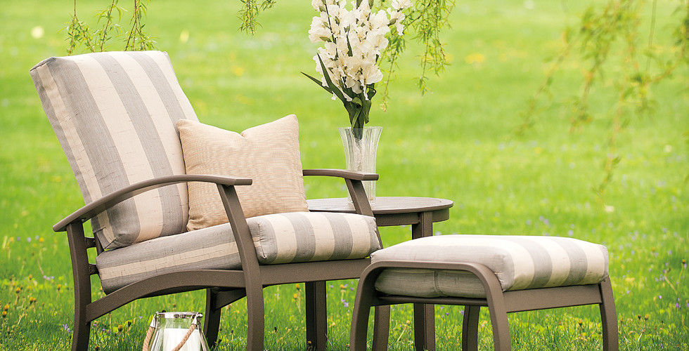 Chic Striped Chair on Lawn