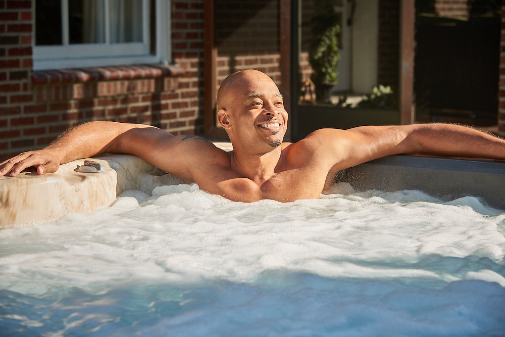Man In Hot Tub Image on Water Features Page