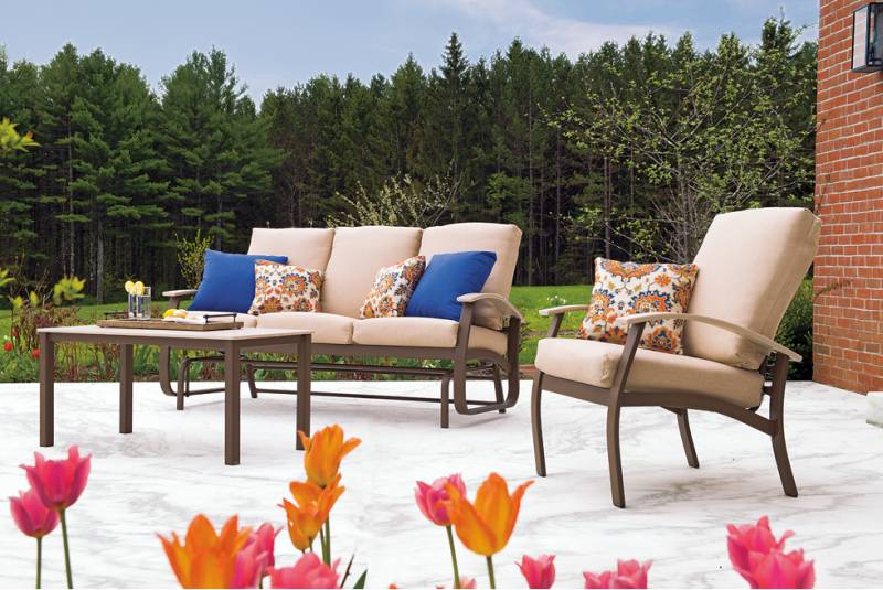 Outdoor Furniture Image with Tulips
