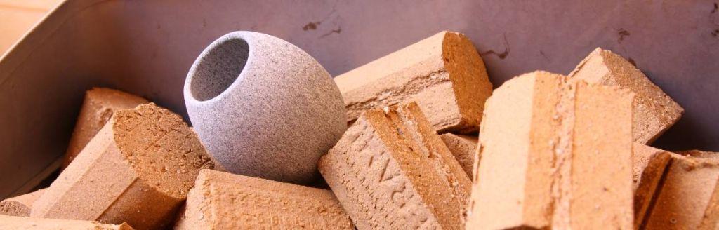 Closeup of stones on a sauna stove