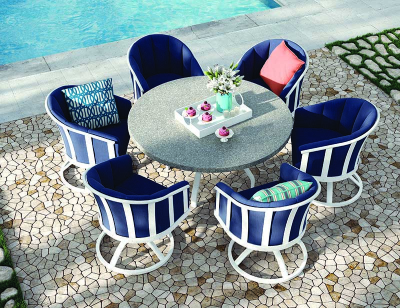 White patio furniture with blue cushions