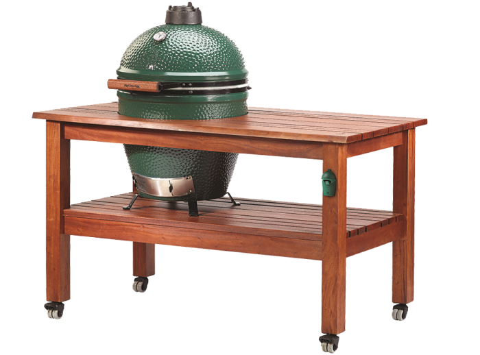 Outdoor Kitchens Big Green Egg with wooden rolling cart stand
