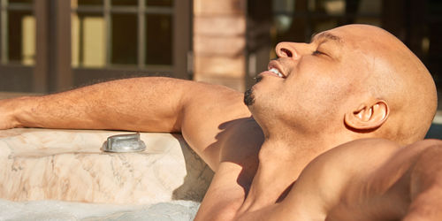 Hot Tubs by Aspen Spas of St. Louis Man Relaxing