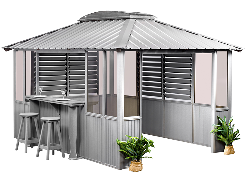 Gray Gazebo with bar and shutter blinds