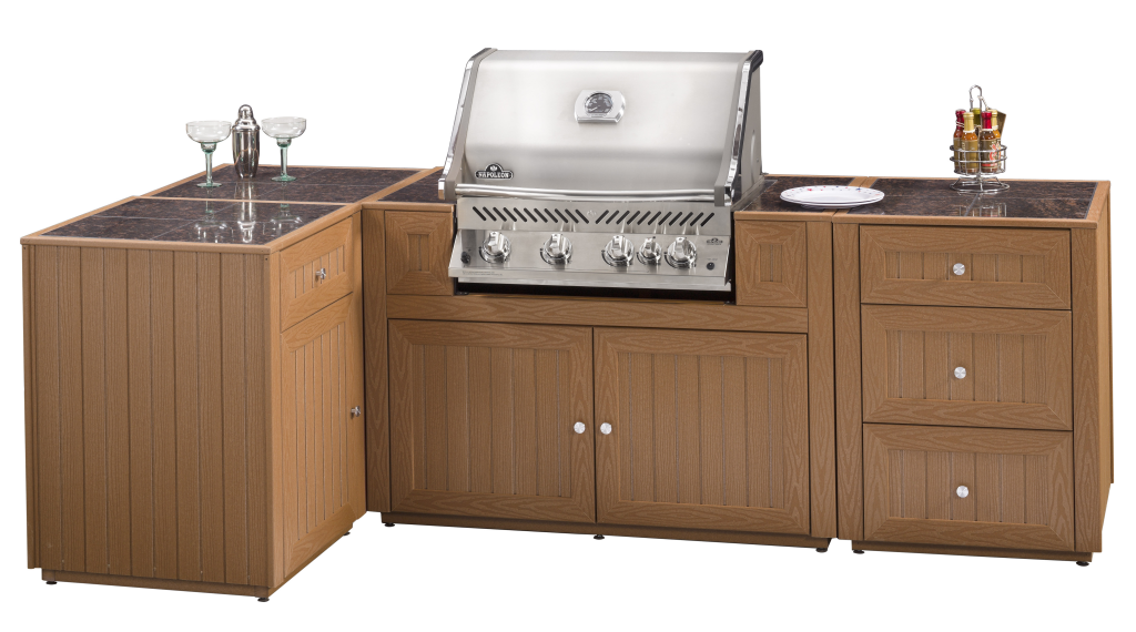 Outdoor Kitchen with inset grill and storage