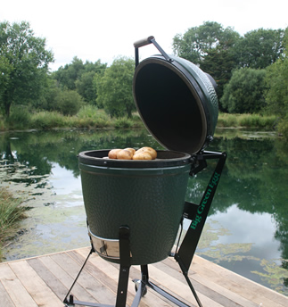 Big Green Egg Medium 3 Grilling on Dock